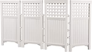 Suncast 4 Panel Outdoor Screen Enclosure - Freestanding Reversible Panel Outdoor Screen - Perfect for Concealing Garbage Cans, Air Conditioners - Light Taupe