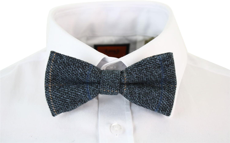 Marc Darcy Herrenfliege Tweed Fischgr/äte Design Samt Optik Vintage Retro Stil