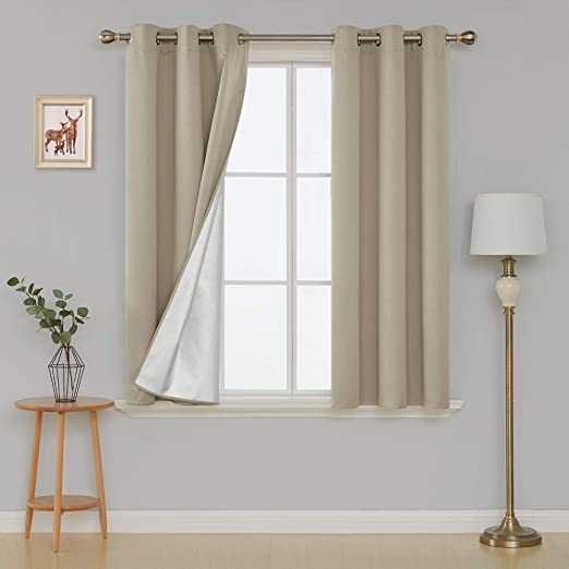 Deconovo Greyish White Blackout Curtains Grommet Curtains with Silver Coating Sun Blocking Curtains for Bedoom and Living Room 38W by 54L Inch Greyish White 2 Panels