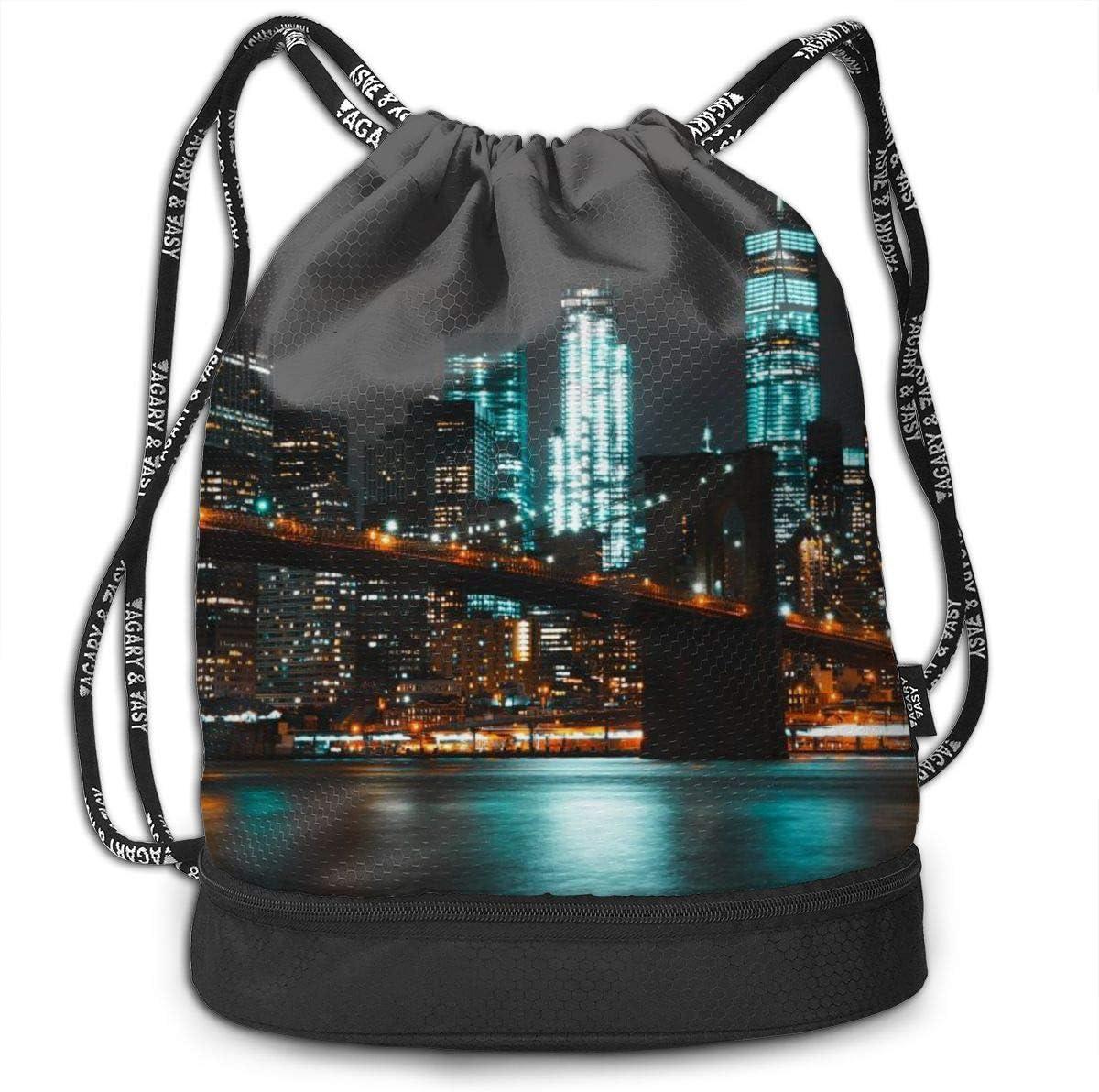 GymSack Drawstring Bag Sackpack New York City Sport Cinch Pack Simple Bundle Pocke Backpack For Men Women