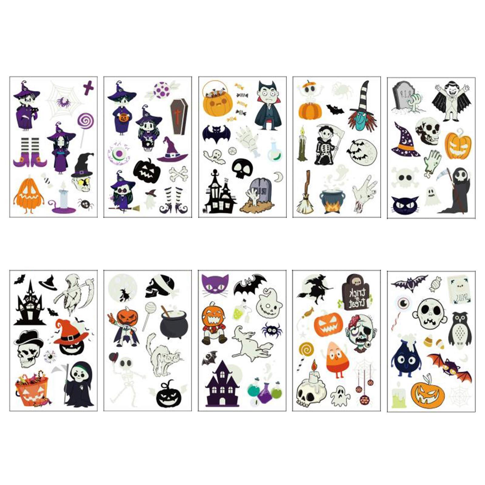 TAZEMAT 10 Blatt Halloween Temporäre Tattoos Fluoreszierende wasserdichte Tattoos Temporär Tätowierung Kürbis Geist Fledermaus Kunst Tattoos Kindertattoos Jungs Mädchen Halloween Party