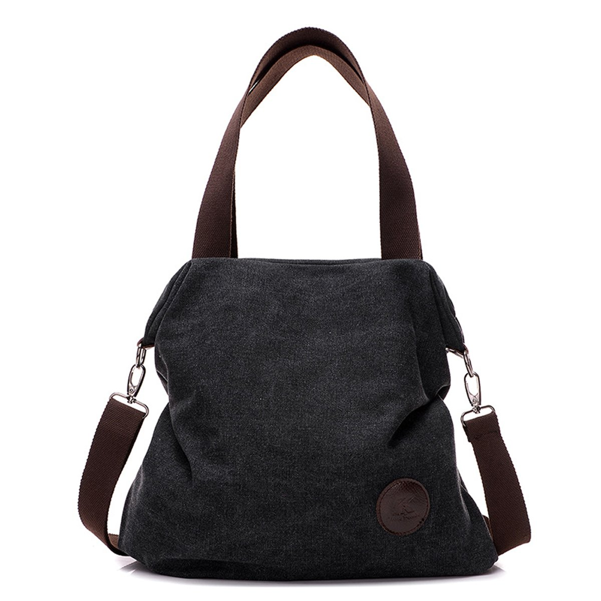 812403b25ae1 Amazon.com  Shoulder Bag Crossbody bag Mid Size Handbag Canvas Tote Bag For  Women Girls Casual Travel Messenger Bag Brown Black  Shoes