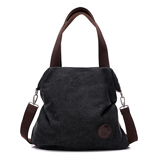 Amazon.com  Shoulder Bag Crossbody bag Mid Size Handbag Canvas Tote Bag For Women  Girls Casual Travel Messenger Bag Brown Black  Shoes 8798580c974db