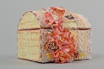 Caja artesanal decorada en scrapbooking joyero original regalo para madre