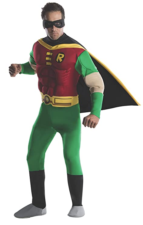 Batman - Disfraz de Robin musculoso para hombre, Talla M adulto (Rubies 888078-M)