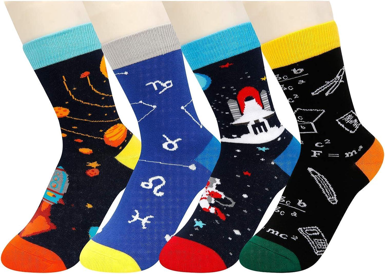 HAPPYPOP Boys Crew Socks Novelty Crazy Shark Animal Space Sports Food Socks for Kids Gift Box