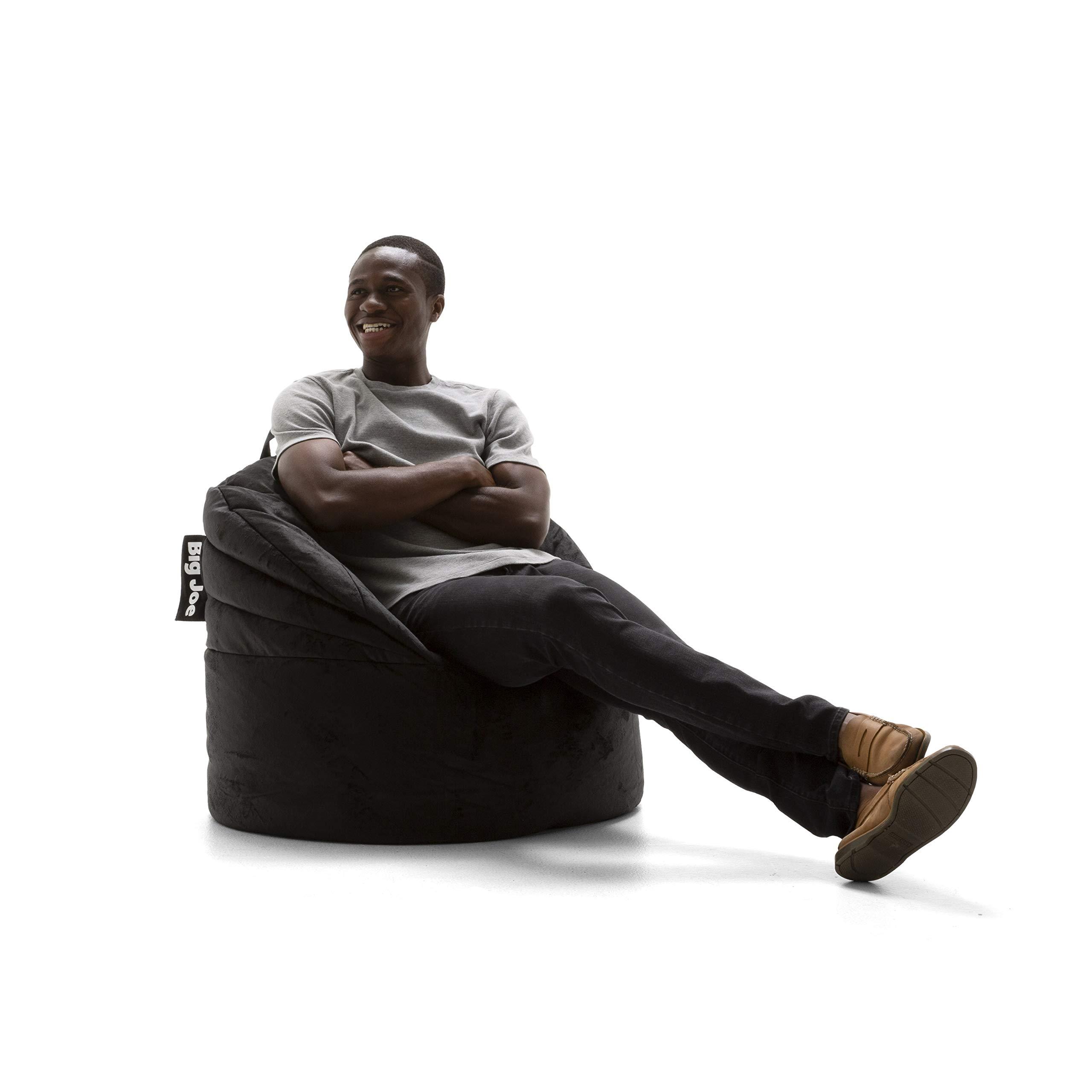 Big Joe 0680540 Stack Chair, Black Plush Bean Bag, by Big Joe