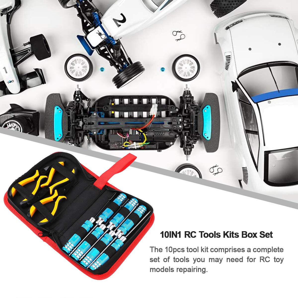 Hobby-Ace 10IN1 RC Tools Kits Box Set Screwdriver Pliers Hex Repair for Helicopter Multirotors