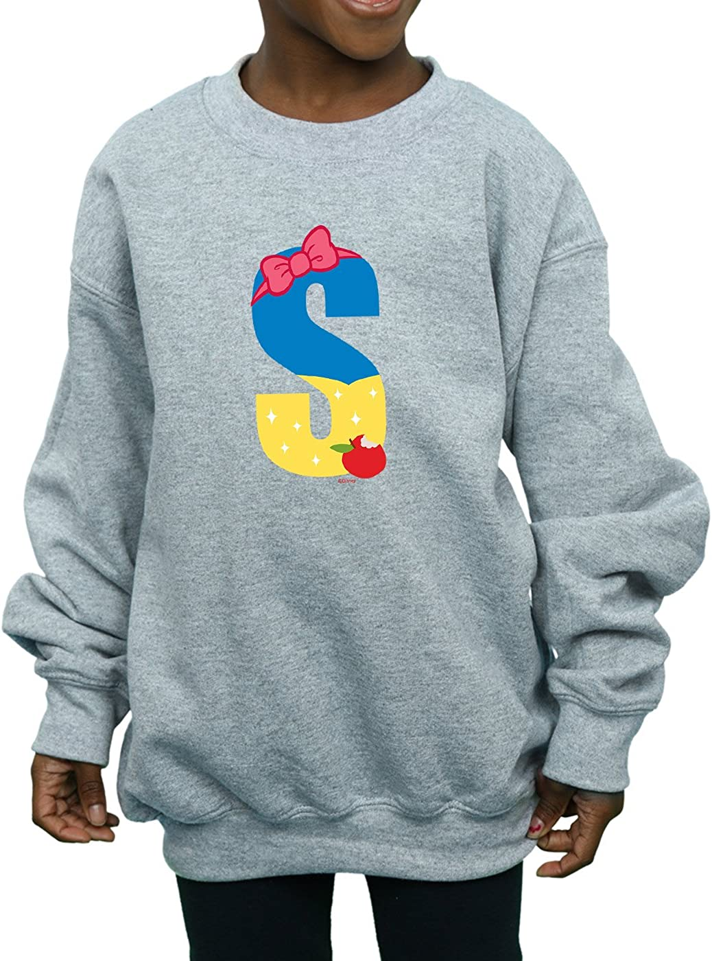 Disney Girls Alphabet S Is For Snow White Sweatshirt Sport Grey 9-11 Years