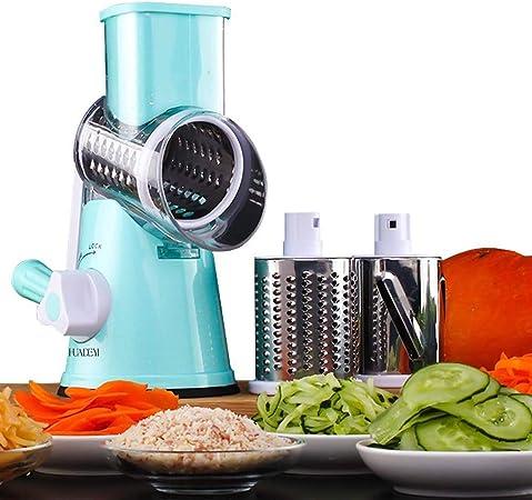 HUADEYIPicadora de Verduras Manual Máquina Multifuncional para Cortar Verduras y Frutas Tipo Tambor Giratorio Rallador de Queso con 3 Cuchillas Giratorias Mandolina Rallador de Zanahoria: Amazon.es: Hogar