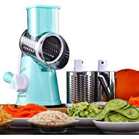 Multifunctional Vegetable and Fruit Cutting Machine, Rotating Drum Cheese Grater with 3 Stainless Steel Revolving Blades…