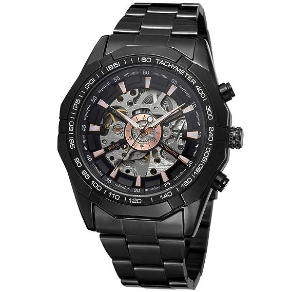 Reloj de pulsera redondo para hombre Forsining con cuerda automática, analógico, pulsera de acero inoxidable FSG8042M4B1: Amazon.es: Relojes