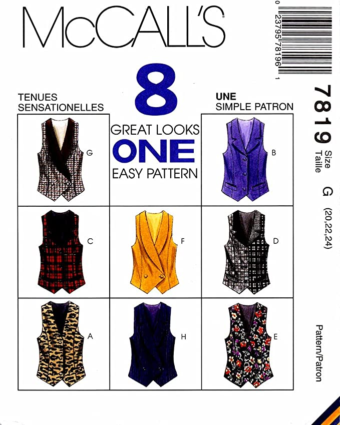 McCalls 1 Hour Vest Pattern 2260 Misses Unlined Vests in Two Lengths Size XL 20-22