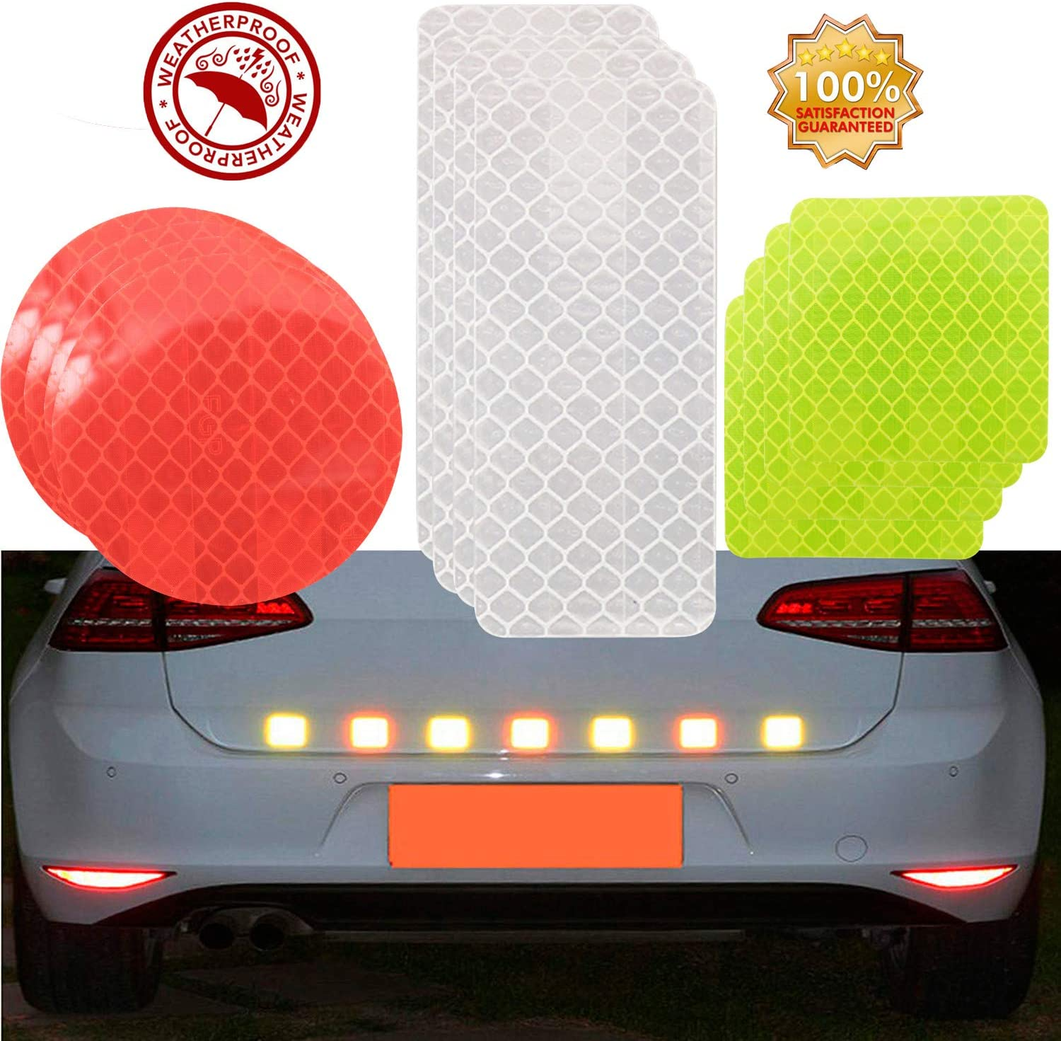 Racing Car Badge Toys Truck Scooter Reflective Stickers 21PCS Waterproof Adhesive Decals for Motorcycle Helmets Strollers Bicycles Wheelchairs Night Visibility Safety Door Window Yellow