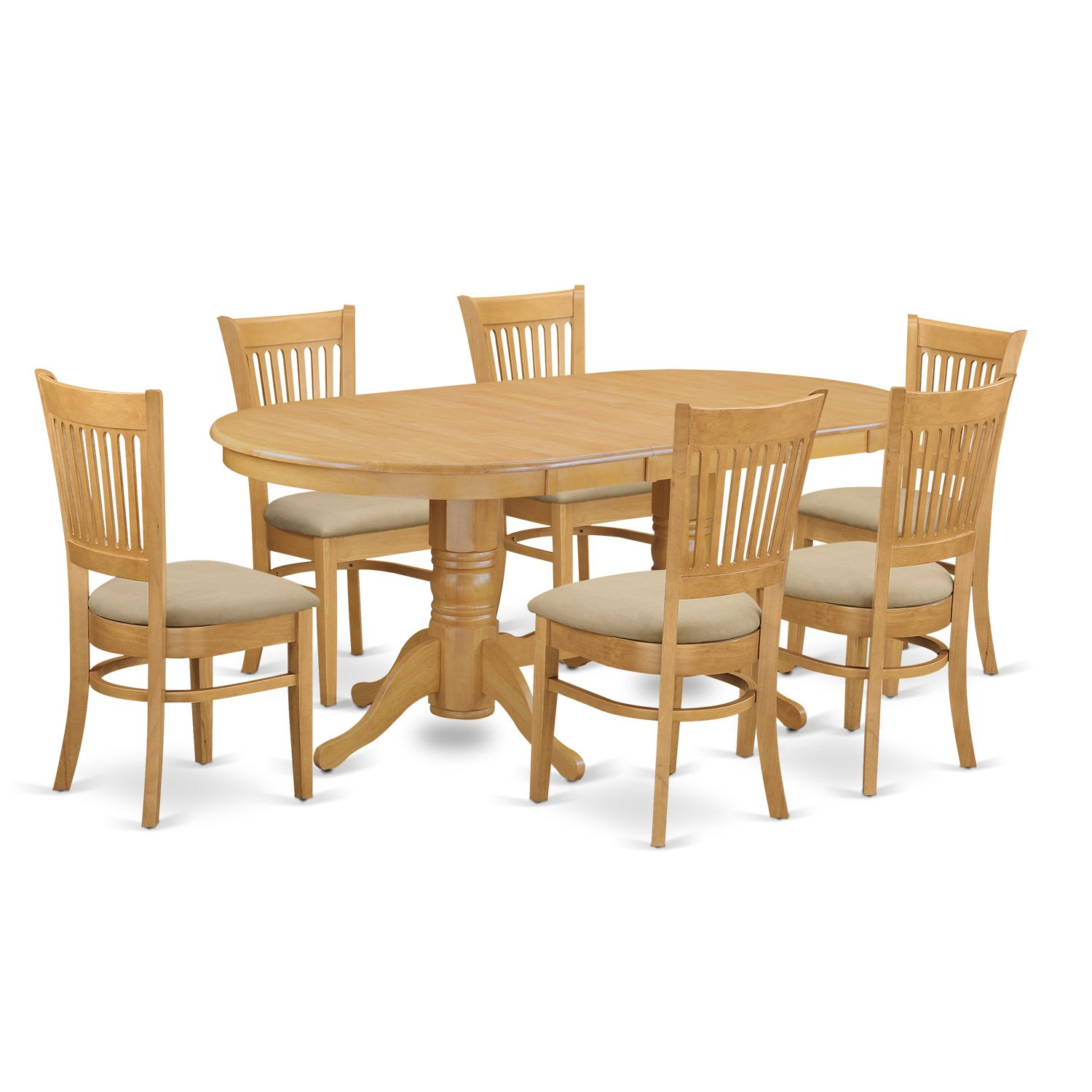 Amazon.com: East West Furniture VANC7 OAK C 7 Piece Dining Table Set:  Kitchen U0026 Dining