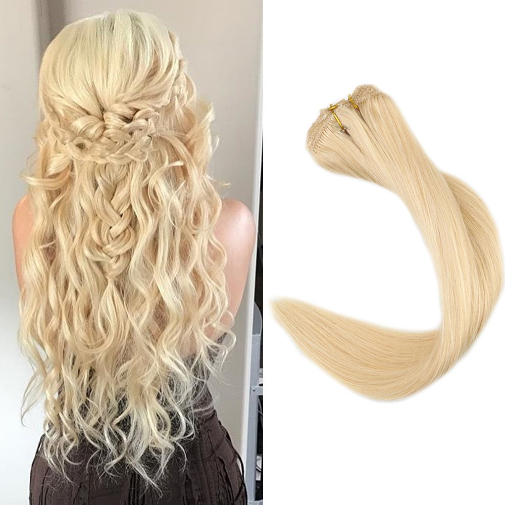 Fshine 18 9 Pieces Color #18 and #613 Blonde Thick Clip in Remy Hair Extensions Blonde Highlight Striped Straight Hair Clip in Extensions Best Human Hair Extensions for Thin and Short Hair LTD