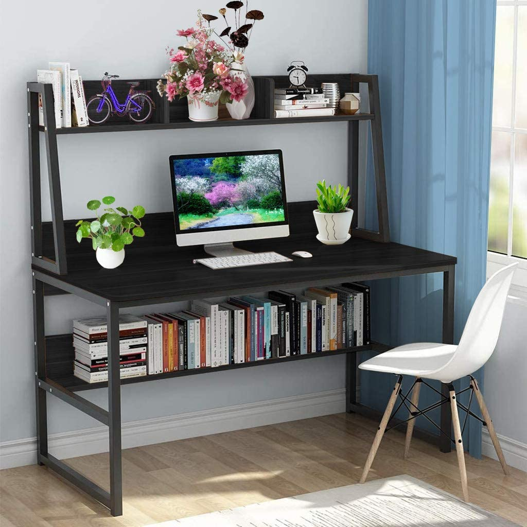 Computer Desk with Bookshelf, Home Writing Study PC Laptop Table 3-Tier Large Desktop Workstation Gaming Table (47×22.4×54.3in, Black)