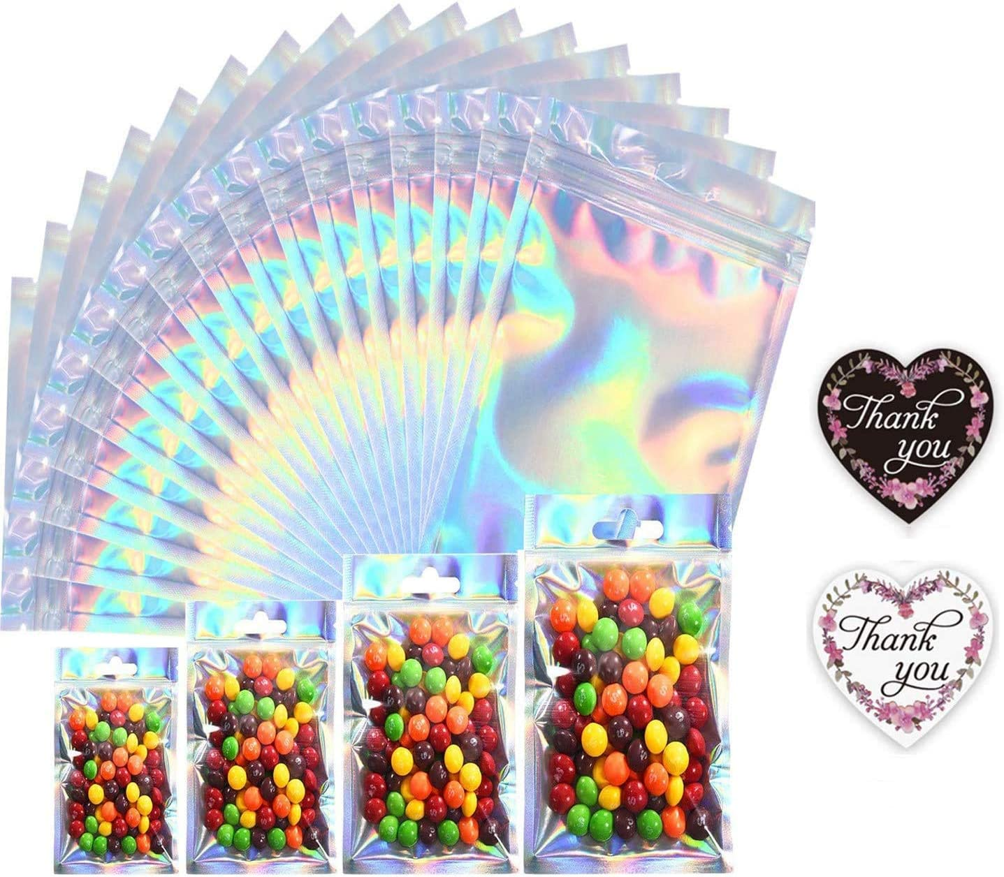 50Pcs Mylar Packaging Bags Holographic Reusable Smell Proof Flat Ziplock Storage Bags for Snack Coffee Beans Candy Nuts Soap Sample Lip Gloss Jewelry with Free 50Pcs Thank You Stickers(4.7x7.8in)