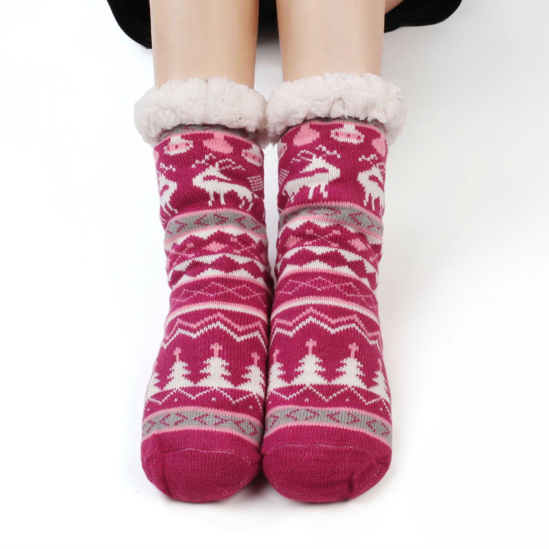 e7dbec4123e Femme Chaussons Chaussettes d hiver Laine Pantoufle Chauds Douillets Thème  Noël Avec Prises Antidérapantes