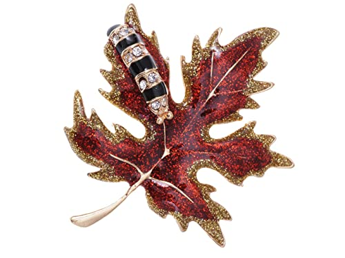 fd0e8836d Image Unavailable. Image not available for. Color: Alilang Golden Tone Red  Glitter Autumn Maple Leaf Caterpillar Brooch Pin