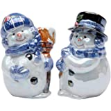 Cosmos Gifts 737-15 Glossy Snowman Couple Salt and Pepper Set, 3-1/2-Inch