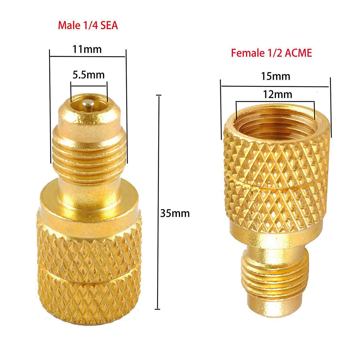 Swess AC R134a Brass Adapter Freon Fitting 1//4 Male to 1//2 Female,Freon Fitting Brass Value