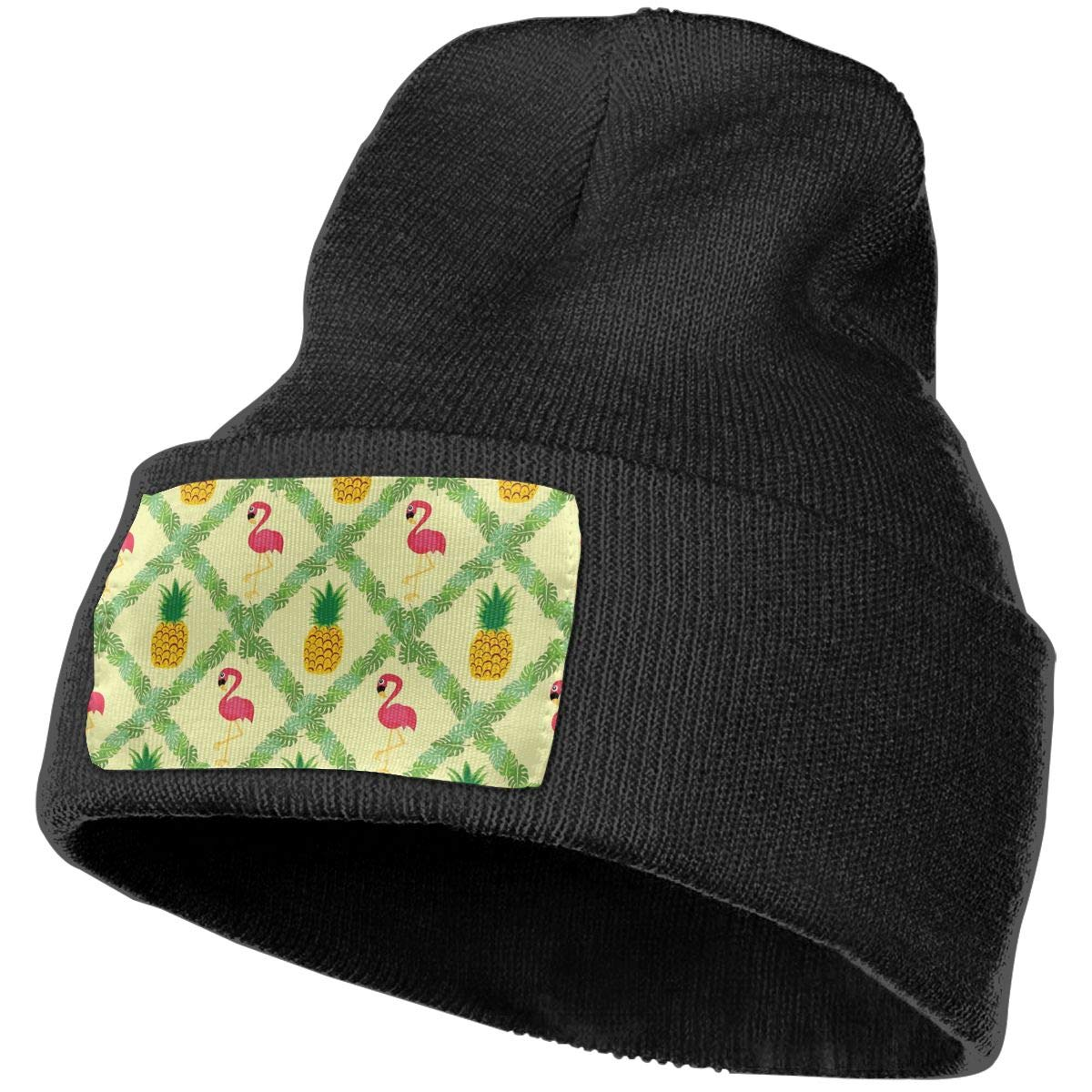 Flamingo Pineapple Hat for Men and Women Winter Warm Hats Knit Slouchy Thick Skull Cap Black