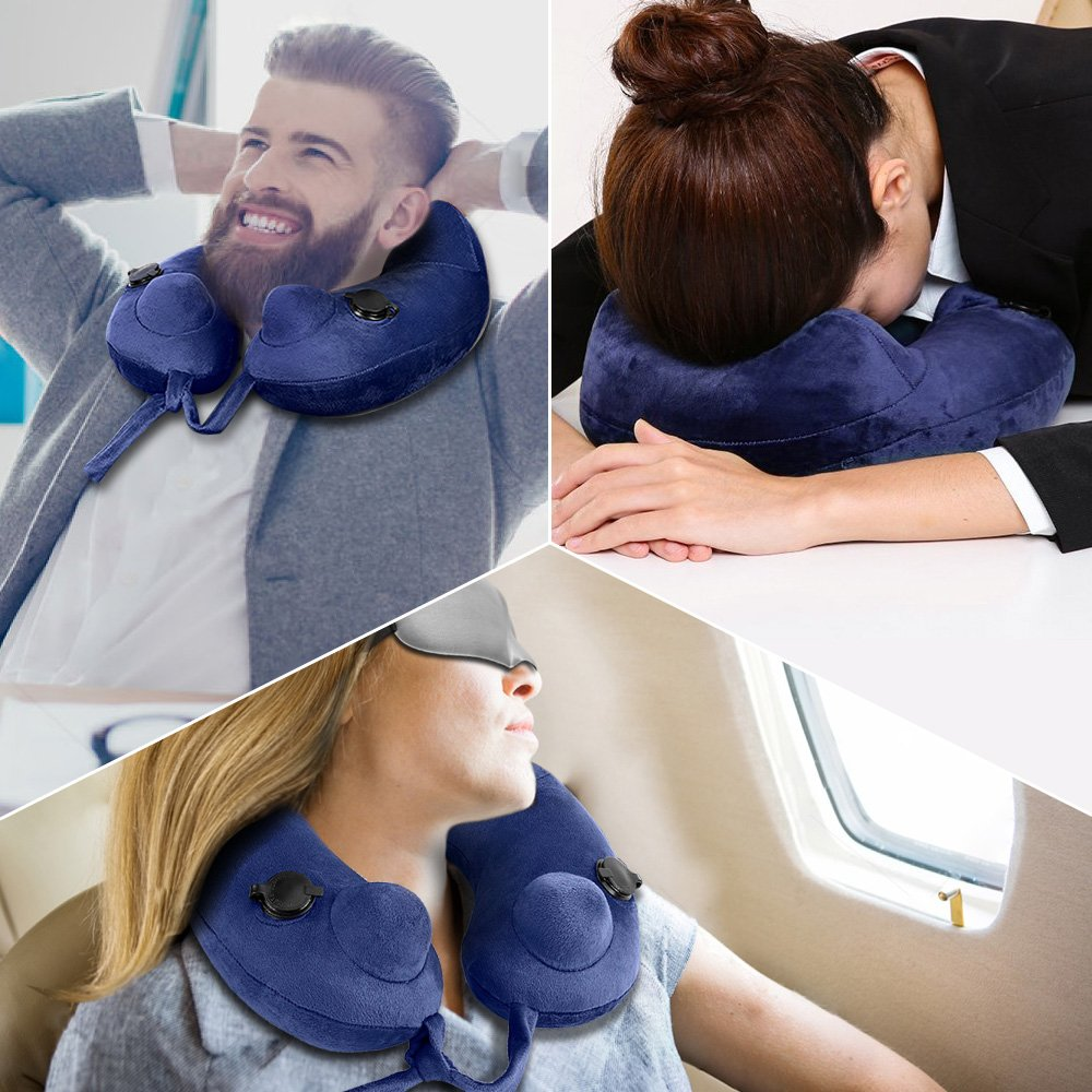Reading /& Neck Pain Relief Car and Train for Plane Inflatable Neck Pillow Portable Comfortable Washable U Shaped Travel Pillow with Washable Earplugs and Eye mask