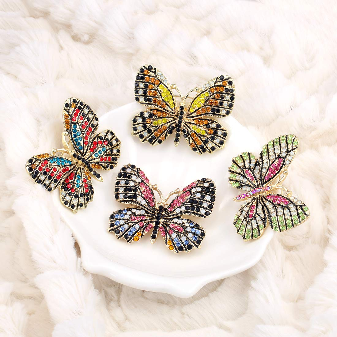 WeimanJewelry Lot6pcs Multicolor Rhinestone Crystal Butterfly Brooch Pin Set for Women by WeimanJewelry (Image #4)