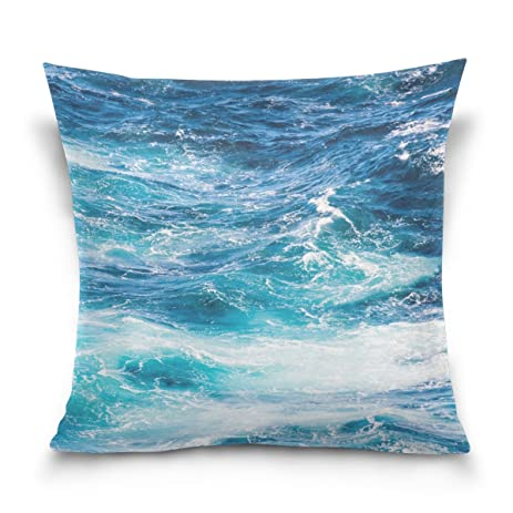 Amazon Double Sided Blue Ocean Wave Cotton Velvet Square Pillow Magnificent Decorative Pillow Slipcovers