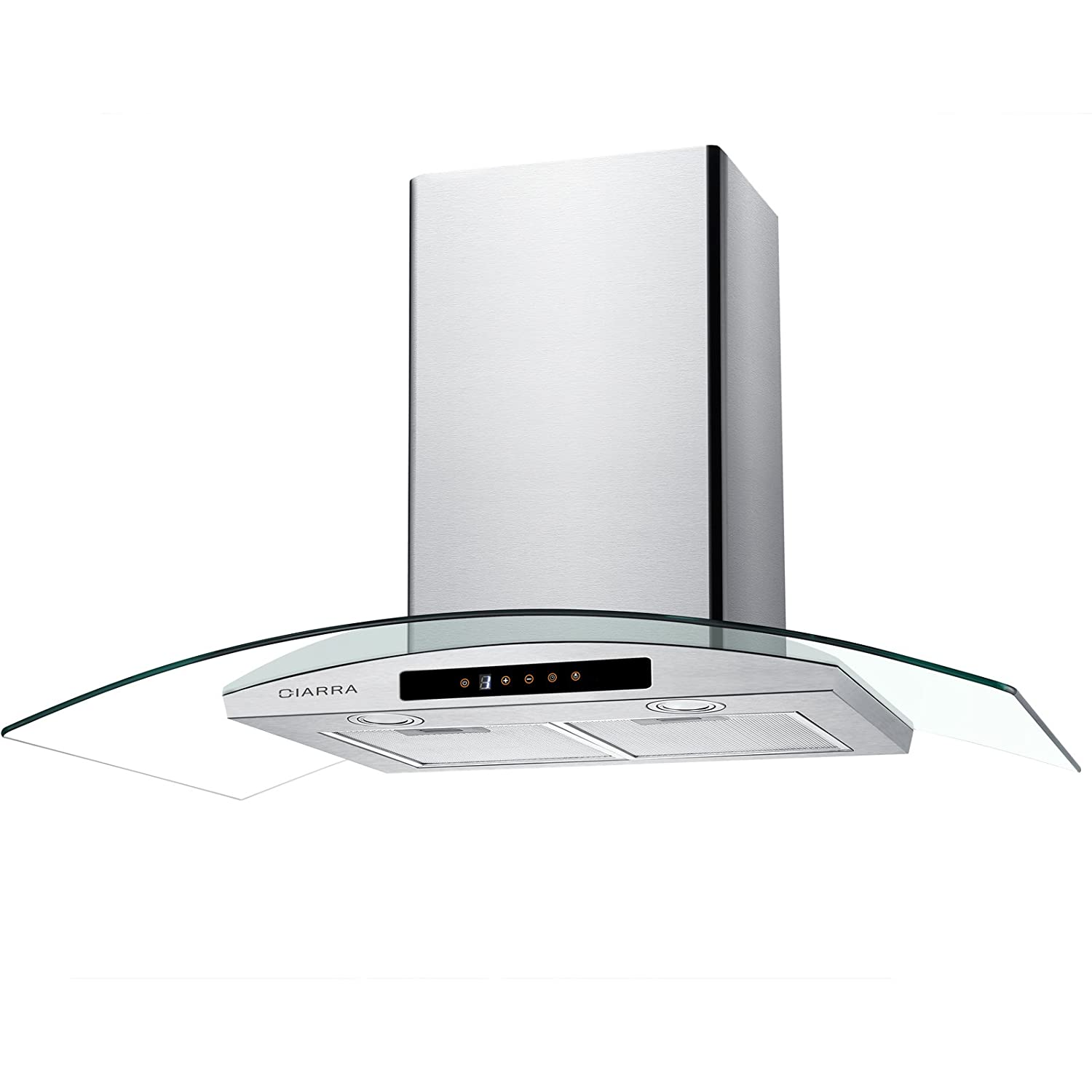 "CIARRA 30"" Wall Mount Range Hood Touch Control,LED Lights,3 Speeds,450 CFM,Tempered Glass,Stainless Steel,Washable Filters,Kitchen Cooking Vent Fan Hoods"