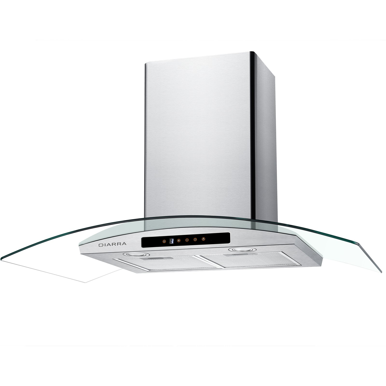 CIARRA 30'' Wall Mount Range Hood Touch Control,LED Lights,3 Speeds,450 CFM,Tempered Glass,Stainless Steel,Washable Filters,Kitchen Cooking Vent Fan Hoods