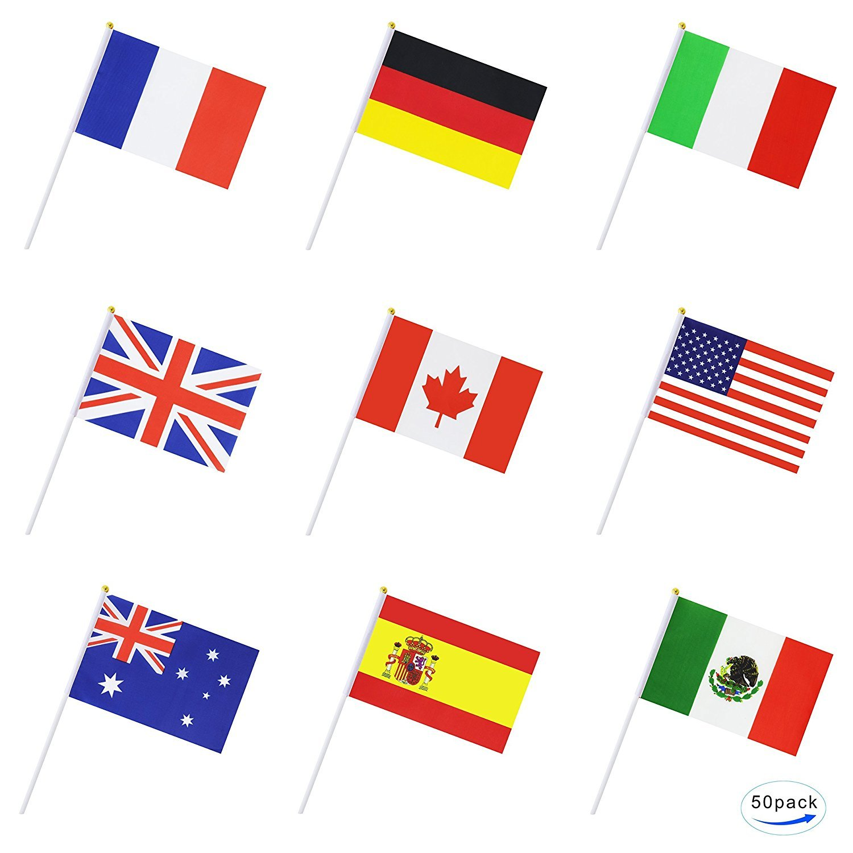 RoMote -50Countries Drapeau international Bâton du monde, à main Petit Mini national Pennant FlagsBanners