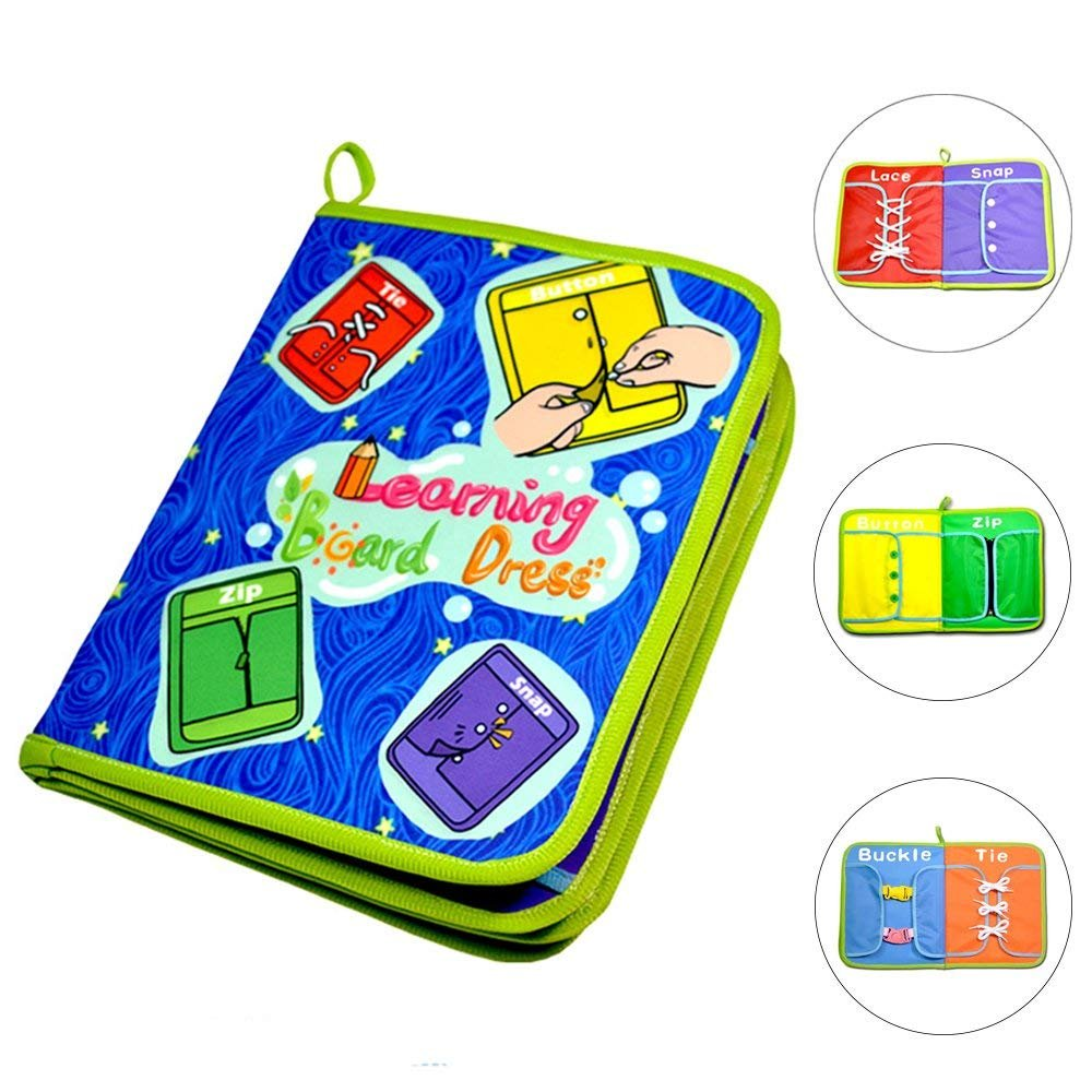zhenyu Early Learning Basic Life Skills Toys Quiet Book,Montessori Learn to Dress Boards- Zip, Snap, Button, Buckle, Lace and Tie,Educational Toy For Baby Toddlers Children