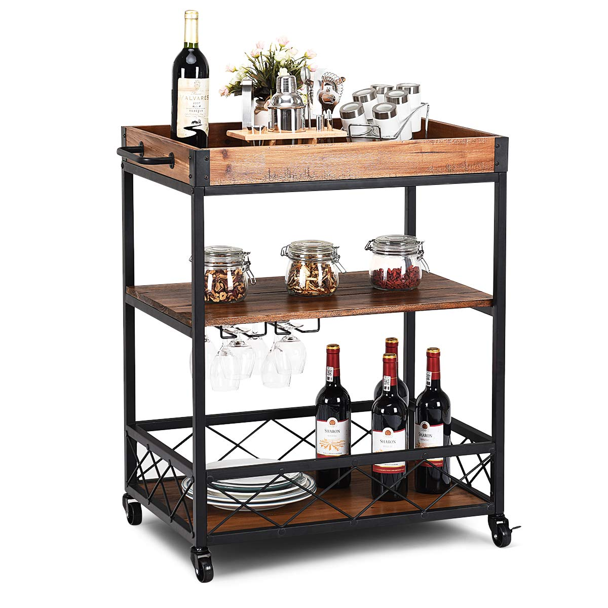 Giantex Kitchen Trolley Cart Island Rolling Serving Carts Utility Cart 3 Tier Storage Shelf with Glass Holde, Handle Racks, Lockable Caster Wheels Kitchen Carts Islands w/Removable Wood Box Container
