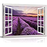 Canvas Print Wall Art Window View Purple Lavender Field at Sunset Scenery Picture Painting Modern Giclee Framed Artwork for B