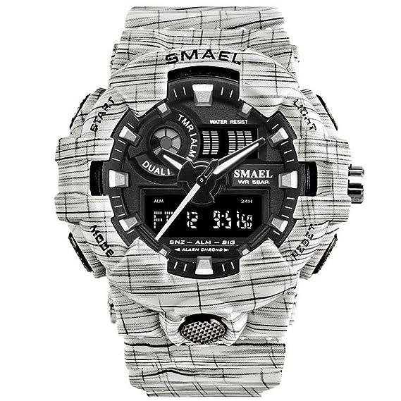 Beydodo Reloj Multifunción Relojes LED Relojes Electronicos Reloj de Doble Pantalla Reloj Hombre Reloj Deportivo Reloj Impermeable Blanco: Amazon.es: ...