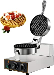 VBENLEM 110V Commercial Round Waffle Maker Nonstick 1100W Electric Waffle Machine Stainless Steel 110V Temperature and Time Control Belgian Waffle Maker Suitable for Restaurant Bakeries Snack Bar Family