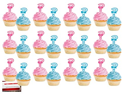 Baseball or Bows Baby Shower Gender Reveal Cupcake Toppers Set of 24
