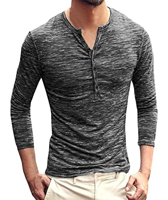 ffc7bd42 NEOYOWO Men's Henley Shirt Casual Slim Fit Long Sleeve T-Shirt Soft V Neck  Buttons Muscle Tops at Amazon Men's Clothing store: