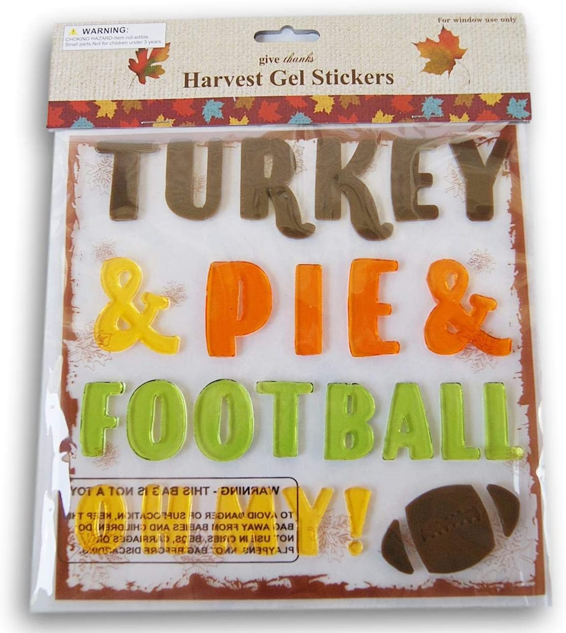 Autumn Fall Themed Gel Cling Set - Turkey & Pie & Football Oh My! - 27 Piece