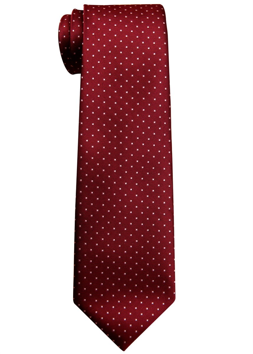 Retreez Pin Dots Woven Microfiber Boy's Tie (8-10 years) - Red Wine with Pink Pin Dots