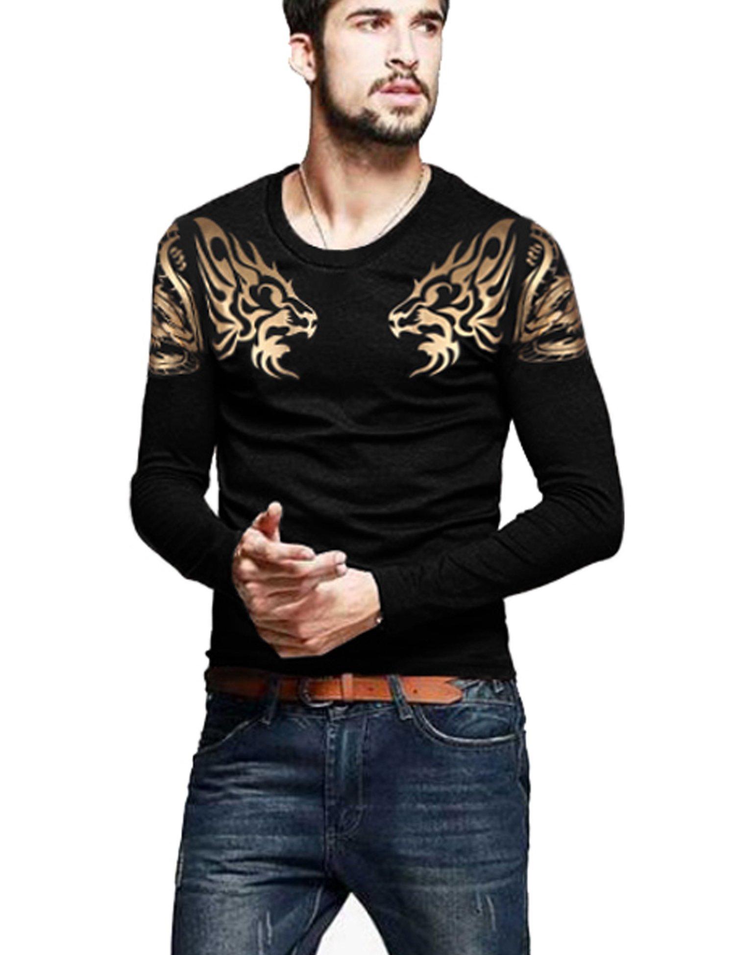 COOFANDY Mens Print Tees Dragon Graphic Long Sleeves Fashion T-Shirts Black L by COOFANDY (Image #3)