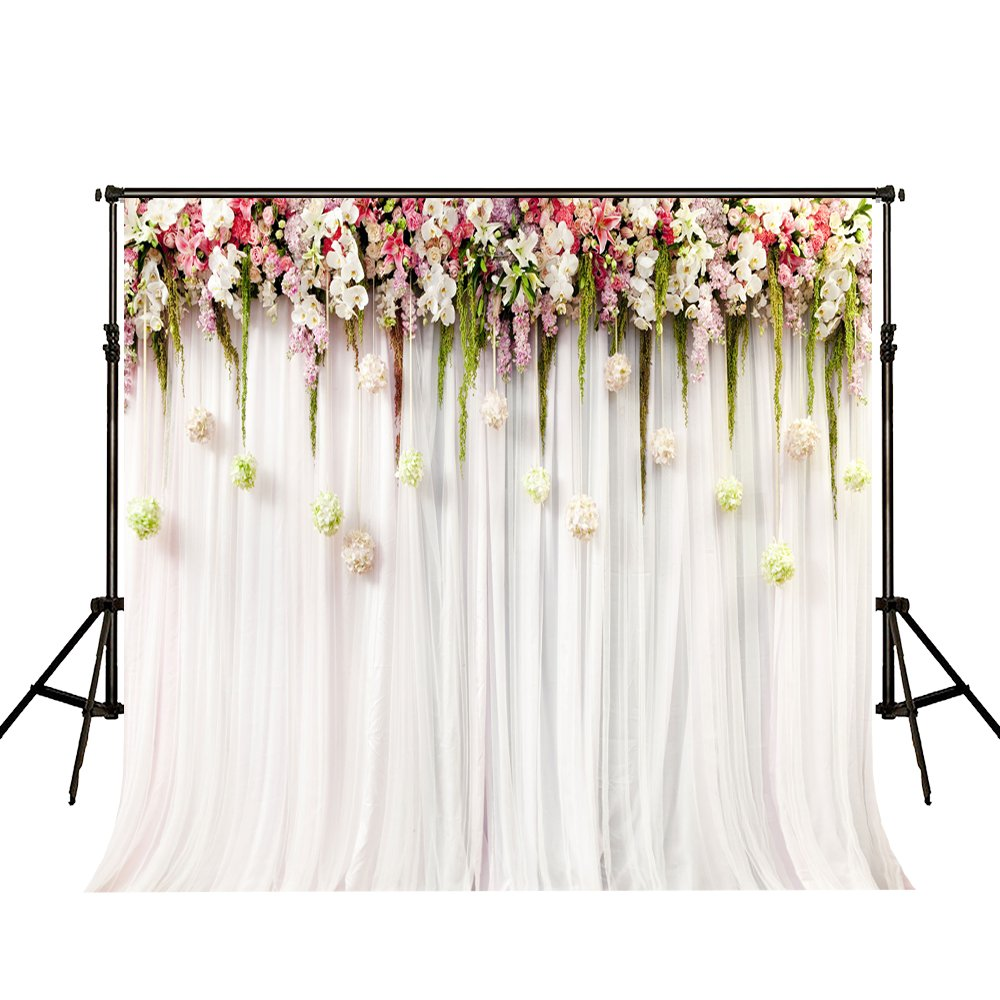 10x10ft Pink Floral Backdrops for Photography White Lace Curtain Wedding Ceremony Seamless Cloth Photo Background Studio Props Party Decorations