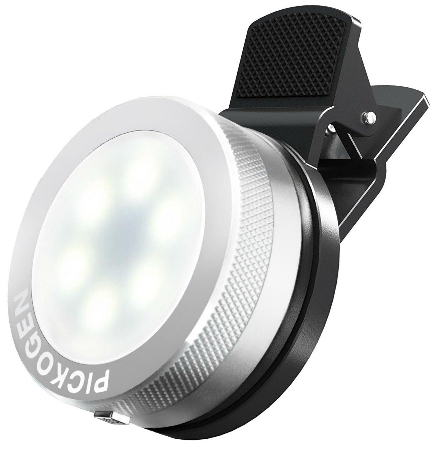 Universal Clip-On Mini LED Light Portable Pocket Spotlight for iPhone, iPad, iPod, Samsung, LG, Motorola, HTC, Nokia, Cell Phones and Tablets Camera Video Light (Gold)