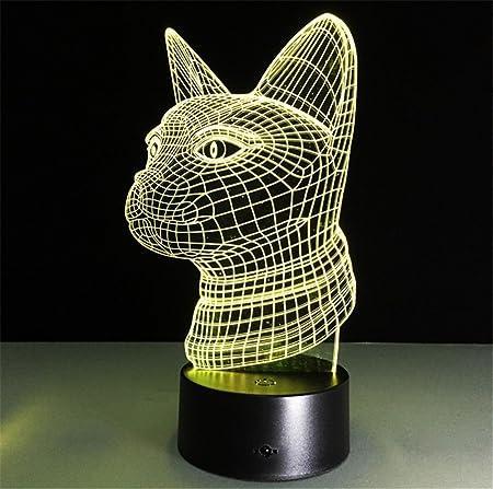 H&M Luz de Noche Cat Escritorio 3D lámpara 7 Colores Cambio Touch ...