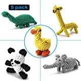 FOCUSPET Dog Rope Chew Toys Animal Design Cotton Puppy Toys,Training Teething Toys for Small to Medium Sized Dogs(Set of 5)
