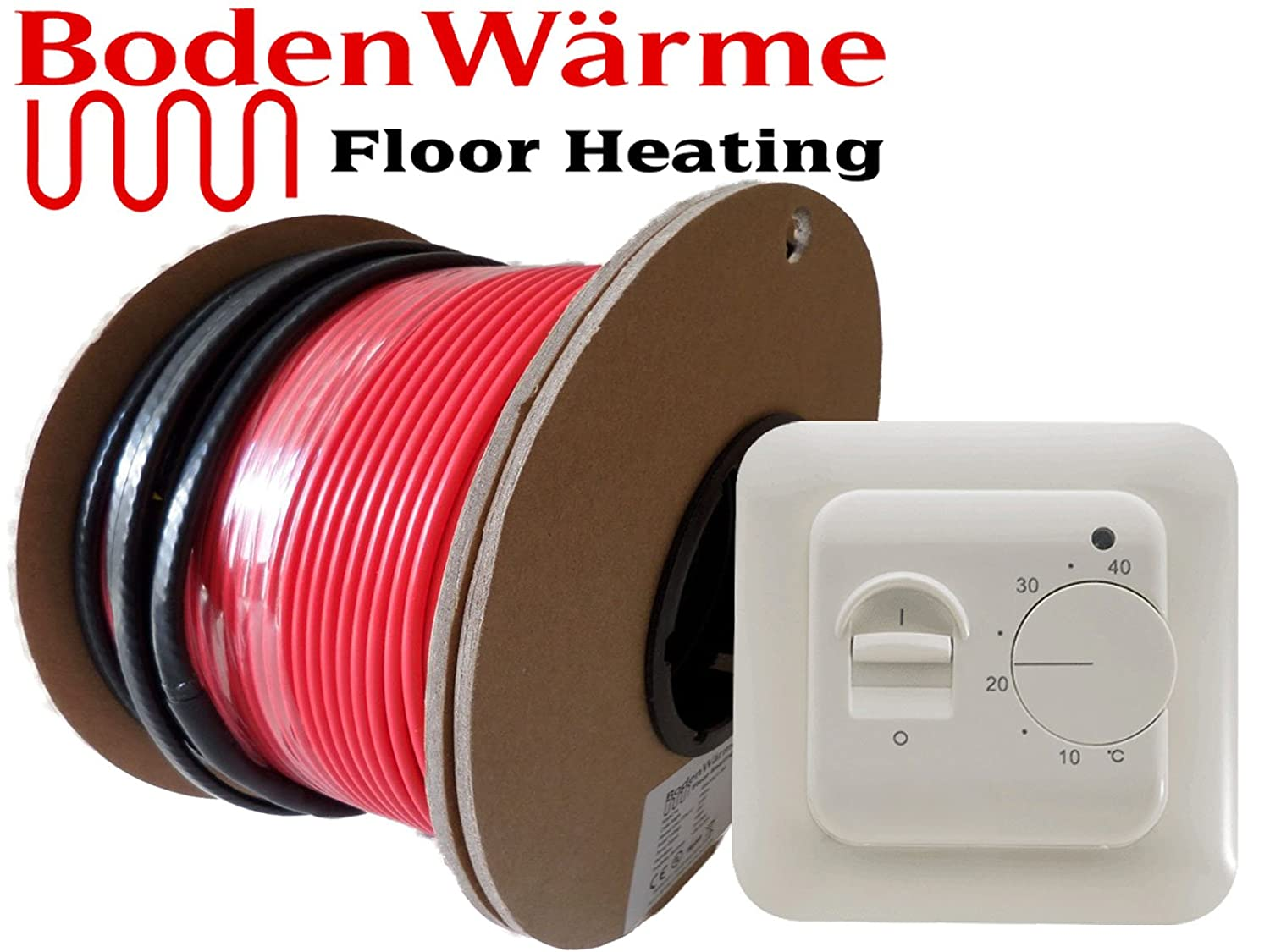Electric Underfloor Heating Cable Kit All Sizes Loose Wire 150w //m/² Tile Heating 2.5m/², Manual Thermostat