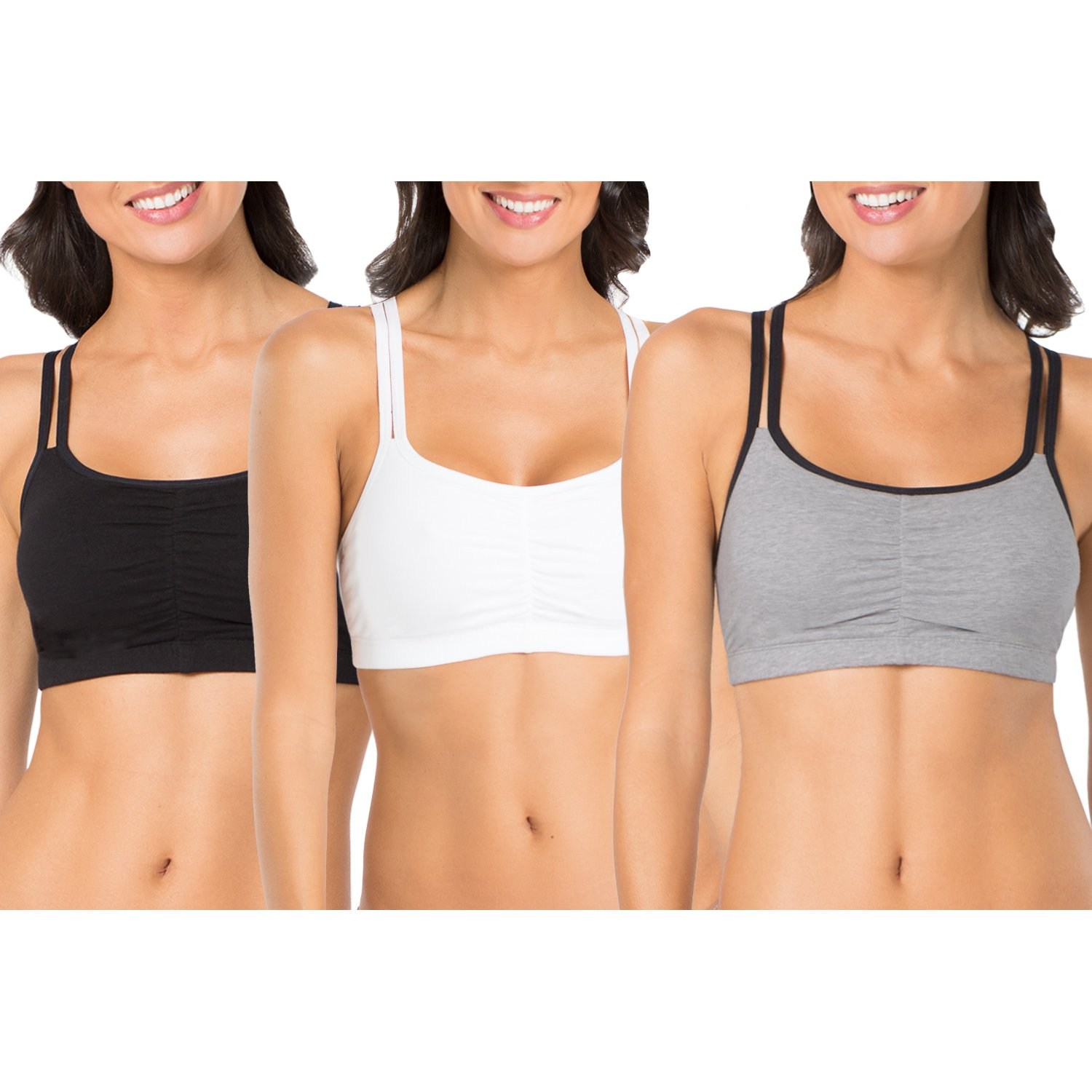 Fruit of the Loom Women's 3 Pack Spaghetti Sports Bra, Grey Black/White/Black, 32 by Fruit of the Loom