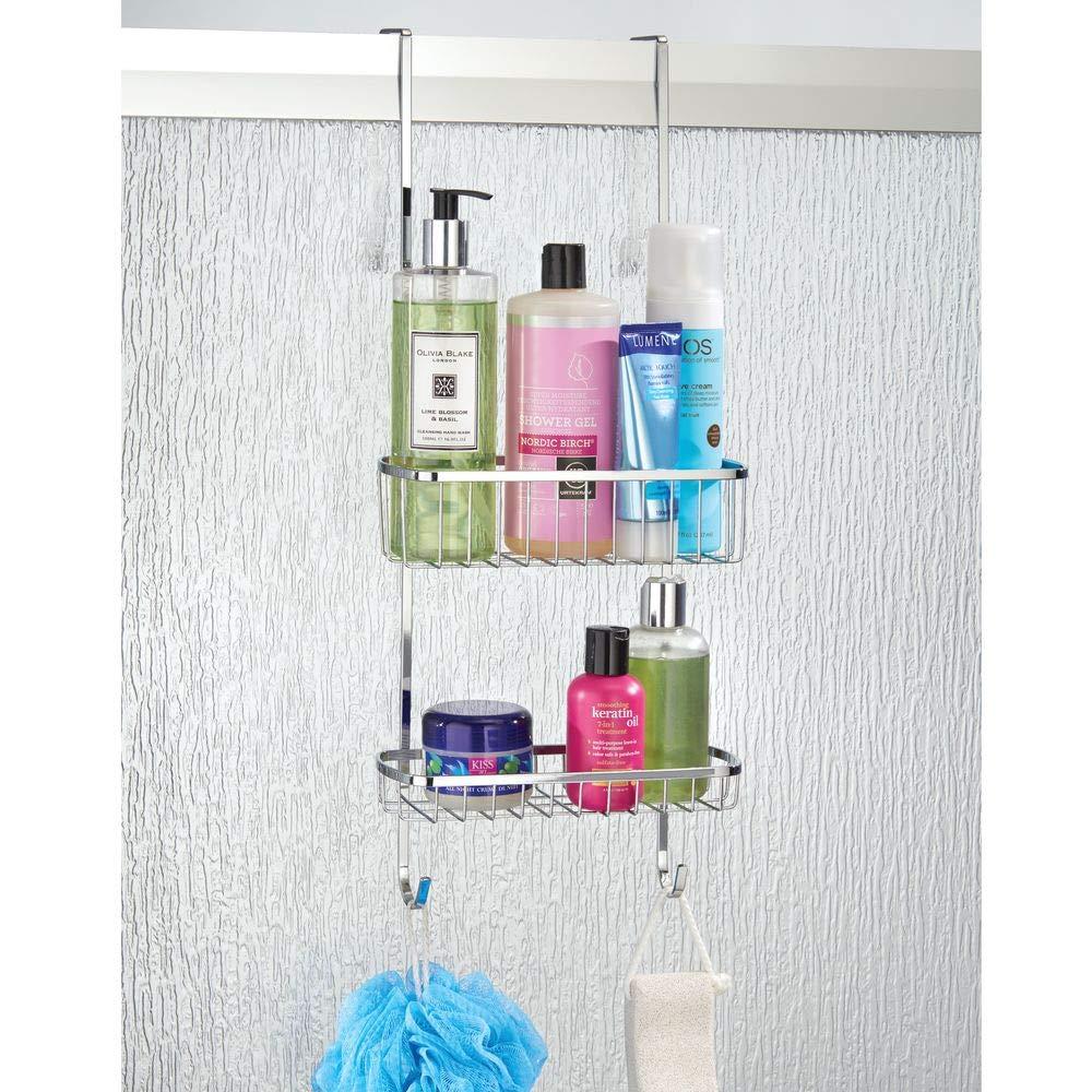 paniers de douche suspendus en acier montage sans per/çage avec ventouses mDesign rangement de douche /à suspendre /à la porte de la douche argent/é /étag/ère de douche pratique